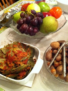 Thanksgiving staples in our family.  Fruit, nuts, and stuffed artichoke!