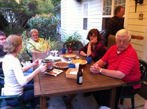 Jes, Margaret, Elaine, Kevin, Herb.  Eating OUTSIDE on Thanksgiving!!!